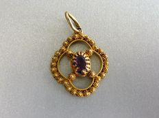 Antique openwork pendant with purl and oval faceted cut amethyst