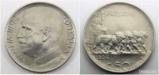 "Italy, Kingdom, 50 Cents ""Lions"", 1924, reeded edge – Victor Emmanuel III"