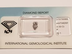 Pear cut diamond, 0.33 ct FSI2