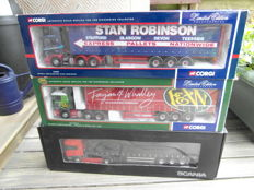 Corgi - Scale 1/50 - Lot with 3 models: 1 x Scania 380 truck, 1 x Scania 420 truck, 1 x Scania 420 truck. &  3 x 3 axle curtainsider trailers