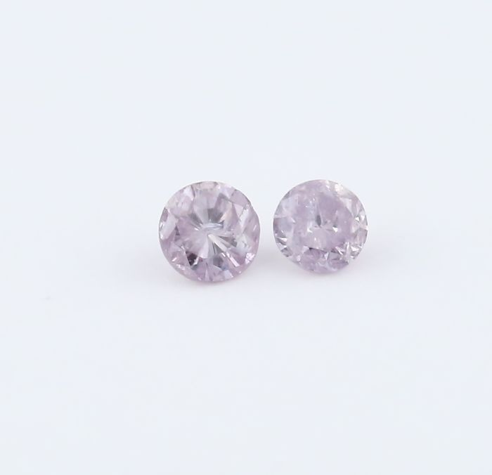 Pair 0.03 + 0.03 = 0.06 ct. Round Brilliant Diamonds - Natural Fancy Pink - I 2