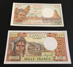 Djibouti - 500 and 1.000 Francs 1979-1988 - Pick 36b and 37d