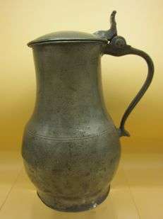 Antique pewter lidded jug - possibly Flemish - 18th century