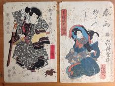 Two coloured woodcuts by Utagawa Kunisada (1786-1865, Toyokuni III) – Japan – around 1850