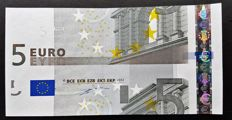 European Union - Germany - €5 euros 2002, Duisenberg - intentionally cut wrong