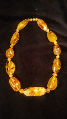 100% Genuine Baltic Amber landscape colour necklace, length 55 cm, 110 grams