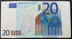 European Union - Portugal - €20 Euro 2002  Duisenberg  - WHITE STRIP on front missing Hologram  -  ERROR  NOTE