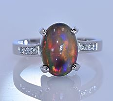 Multicolor black Opal and Diamonds ring - No reserve price!