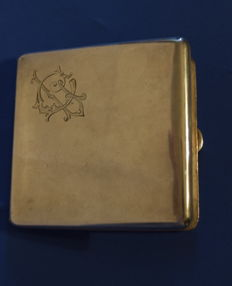 Silver cigarette case with engraved initials - Birmingham, UK, 1910s