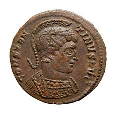 Roman Empire - Constantine I the Great (307-337 A.D.)  bronze follis (2,52 g. 19 mm.). Trier mint. Struck 323 A.D. BEATA TRANQVILLITAS. STR.