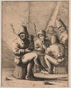 Anonymous possibly Aert van Waes (1620- 1664 ) : Taste - Circa 1645  +  Carl August Grossmann ( 1741 - c.1798) :  Fight over a card game