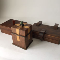 Art Deco 3 wooden boxes