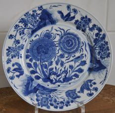 Blue white dish with bird and flowers - China - 18th century (Kangxi period )
