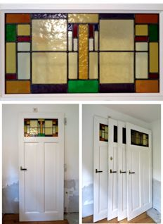 Four panel doors with antique Dutch stained glass