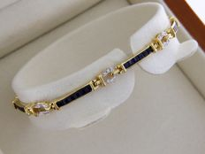 Bracelet OR jaune 18 Carats + Saphirs + Diamants