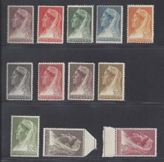 Curaçao 1936/1939 - Wilhelmina type 'Veil' and Hartz - NVPH 126/134, 135/137, 185/194, 195