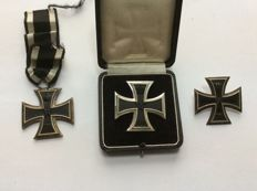 Iron Cross 1st class 1914 on a pin with case, Iron Cross 1st class 1914 on a screw plate