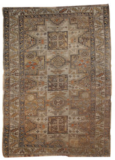 Hand made antique Caucasian Shirvan rug 3.5' x 4.9' ( 109cm x 150cm ) 1900s