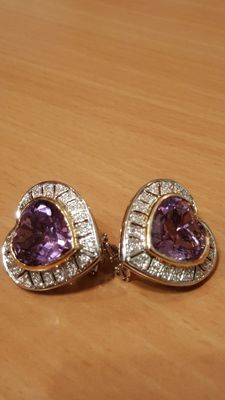 18 kt yellow and white gold earrings with amethyst and diamonds
