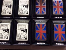 Zippo 8 lighters, type Planeta 4 x union Jack and 4 x comic strip 2