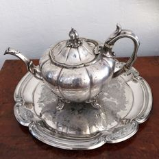 Antique victorian sheffield rococo silver plated teapot with tray