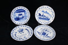 De Porceleyne Fles (Royal Delft) - Set with four plates with WW I as the theme
