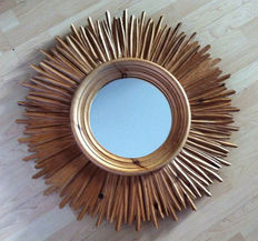 Wooden hand-carved sunburst/starburst mirror