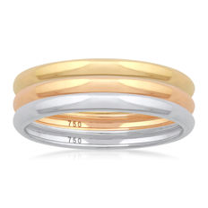 No reserve price, brand new White,Yellow & Pink Gold (Set of 3) wedding bands, size N/54, 2.10mm width each