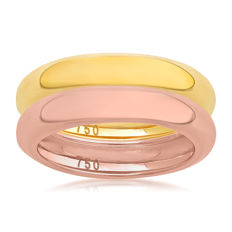 No reserve price, brand new Pink & Yellow gold (Set of 2) wedding bands, size N/54, 4.50mm width each