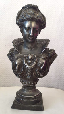 After Albert-Ernest Carrier-Belleuse - metal women bust - ca. 1900