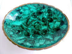 Attractive vintage polished Natural Malachite Bowl brass rim - 15.2 x 11.5cm - 222gm