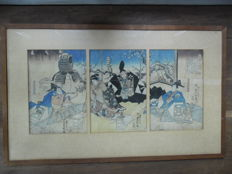 "Woodcut triptych by Utagawa Kunisada (1786 - 1865) - ""Soga monogatari"" - Japan - Around 1844-1845"