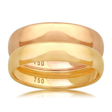 18kt yellow & Pink Gold (Set of 2) wedding bands, size N/54, 4mm width each