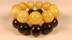 Set of 2 Baltic Amber modified round beads bracelet Egg yolk and Black colour, 98 grams