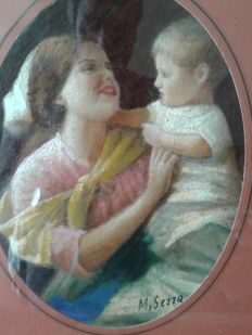Two paintings - M.Serra- .....Year?  Madre con bambino -  La fioraia