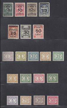 Curaçao 1915/1931 - Number and overprint safe stamps - NVPH 44/56 + 82/88