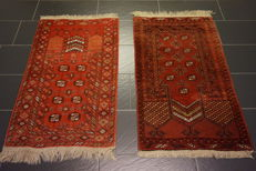 2 x old Afghan prayer's rug Orient carpet made in Afghanistan 75 x 130 cm and 75 x 130 cm