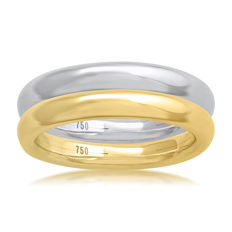 No reserve price, brand new white & Yellow gold (Set of 2) wedding bands, size N/54, 3mm width each