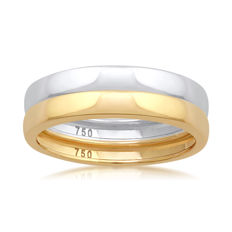 No reserve price, brand new white & Yellow gold (Set of 2) wedding bands, size N/54, 2.80mm width each