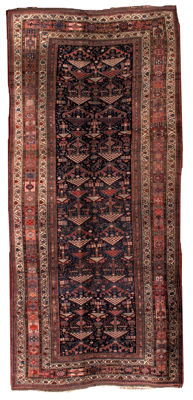 Hand made antique Persian Kurdish rug 4.7' x 9.5' ( 122cm x 274cm ) 1880s