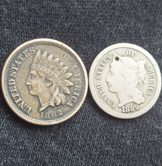 USA - Lot of 2 coins - 1862/1889 - 1 & 3 cent