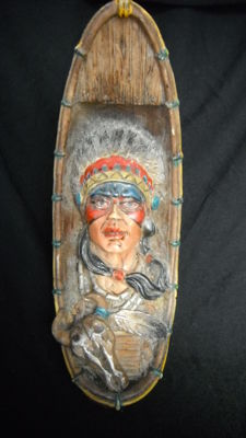 Indian head of tribes sculpture first half of the 20th century (rare)