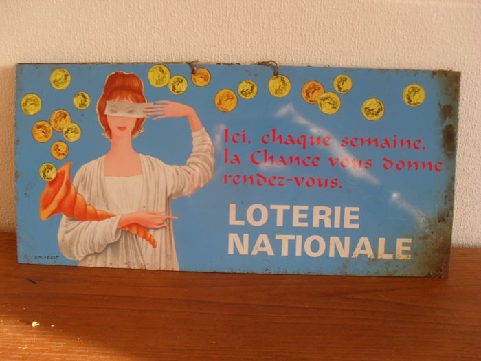 Lot of 2 old enamel plates - Loterie nationale - 1950 and 1900