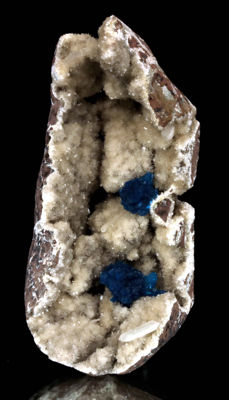 Stunning Cavansite Crystals in Geode Of Heulandite  - 10 x 4cm - 275gm