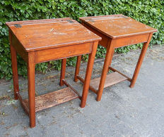 Wooden school desk - lecterns - Two pieces - the Netherlands - '50s