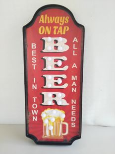 "Sign for pub, ""Beer"" and a beer mug, lights up intermittently"