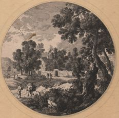 Gabriel Perelle (1603- 1677)  - Landscape with classical buildings - Ca 1650 / (added large circular Perelle landscape)