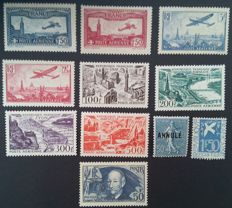France 1930-49 – Selection of 11 stamps including 2 signed Calves and 1 with digital certificate – Yvert #294, 398, PAs 5-6, 11-12, 24-27 and 161-CI 2