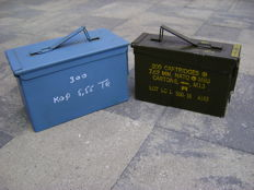 Lot of two NATO pattern boxes, army and navy, United States.