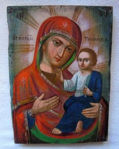 19 th century ortodox russian icon of Virgin Mary of Tixvinskaja hand painted